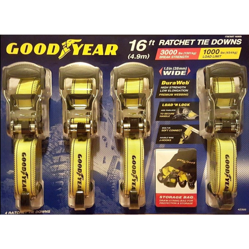Good Year Ratchet Tie Downs (4 Pack)